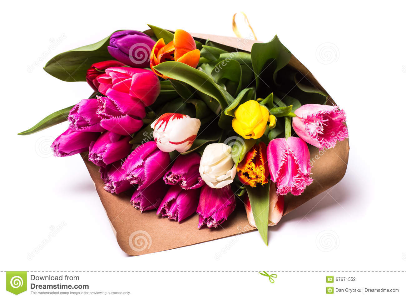 Bouquet Of Spring Tulips Flowers Wrapped In Paper Stock Photo