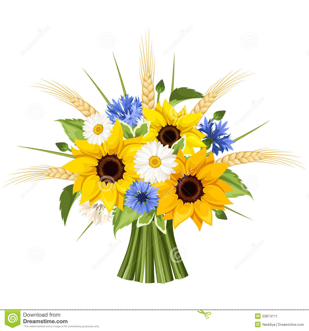 Bouquet Of Sunflowers, Daisies, Cornflowers And Ears Of ...