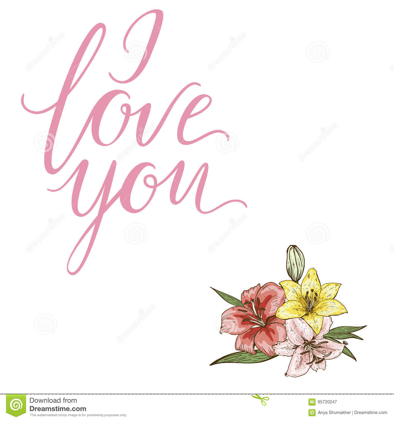 Bouquet Of Three Colorfull Lily Flowers And The Lettering I Love You