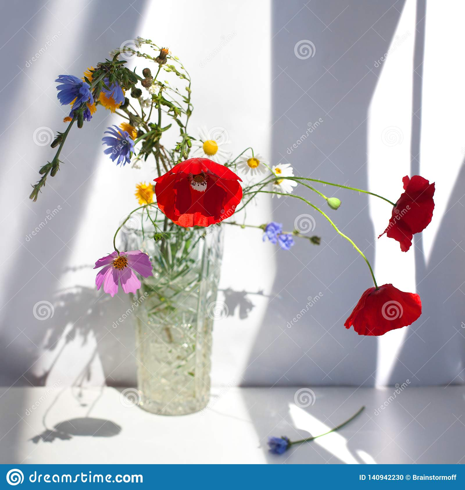 Bouquet of three red poppy flowers and different wildflowers in crystal vase with water on white table with contrast sun light and