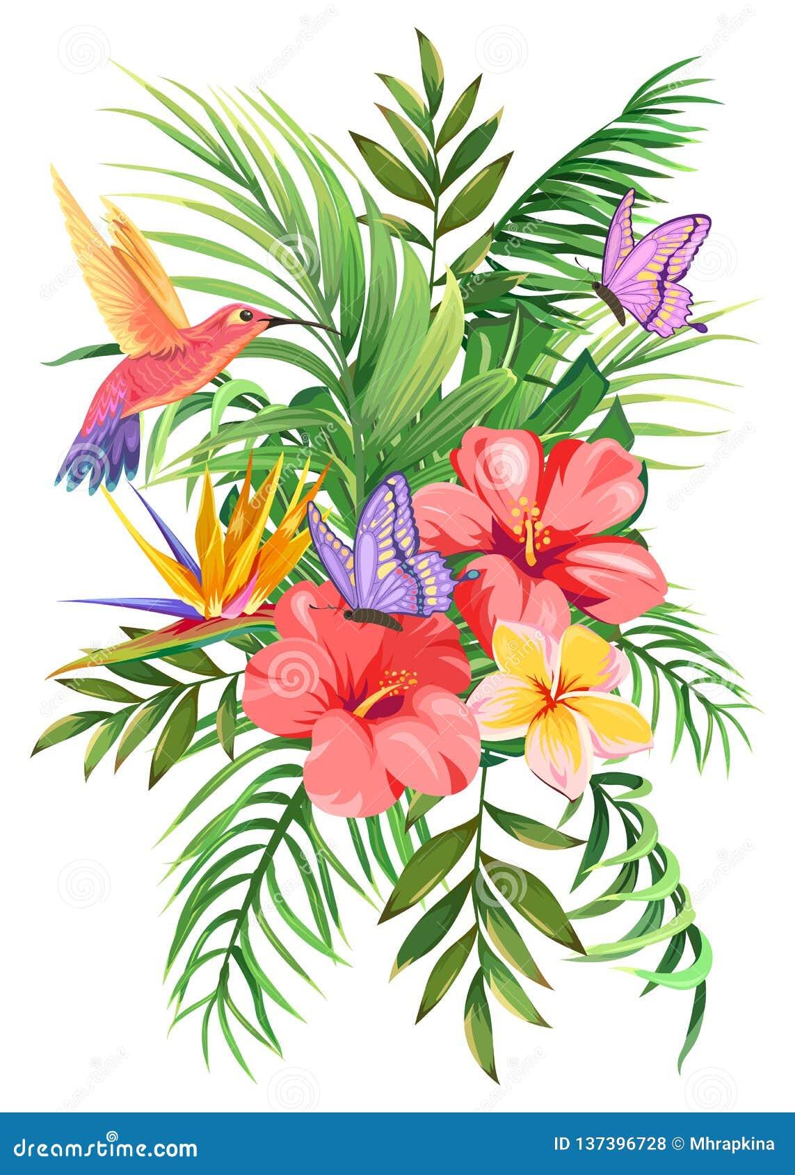 Bouquet tropical avec des palmettes, des fleurs exotiques, des papillons et des colibris