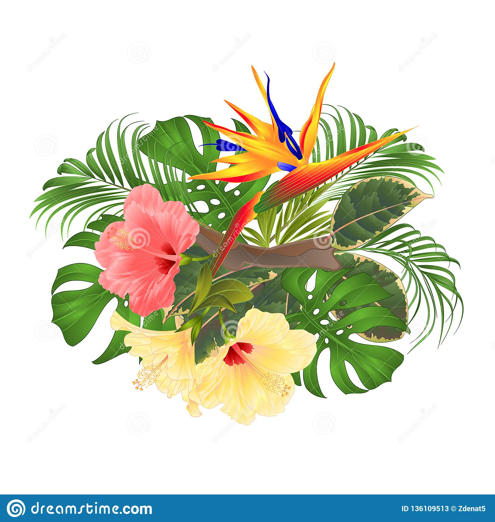 Bouquet With Tropical Flowers Floral Arrangement With Beautiful Pink And Yellow Hibiscus And Strelitzia Palm Philodendron And Fic Stock Vector Illustration Of Leaf Hawaiian 136109513