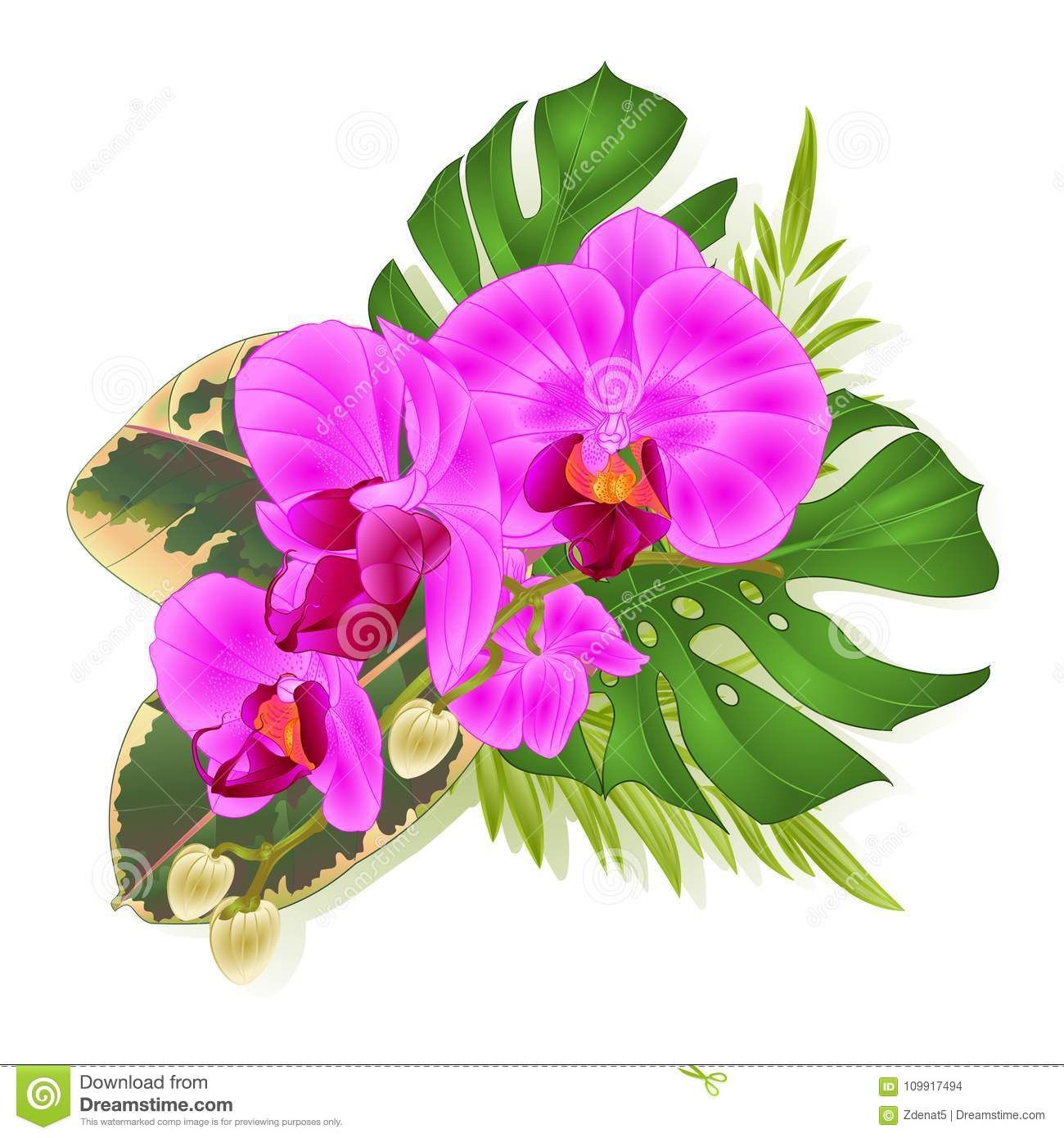 Bouquet with tropical flowers hawaiian style floral arrangement download bouquet with tropical flowers hawaiian style floral arrangement with beautiful purple orchid palm izmirmasajfo