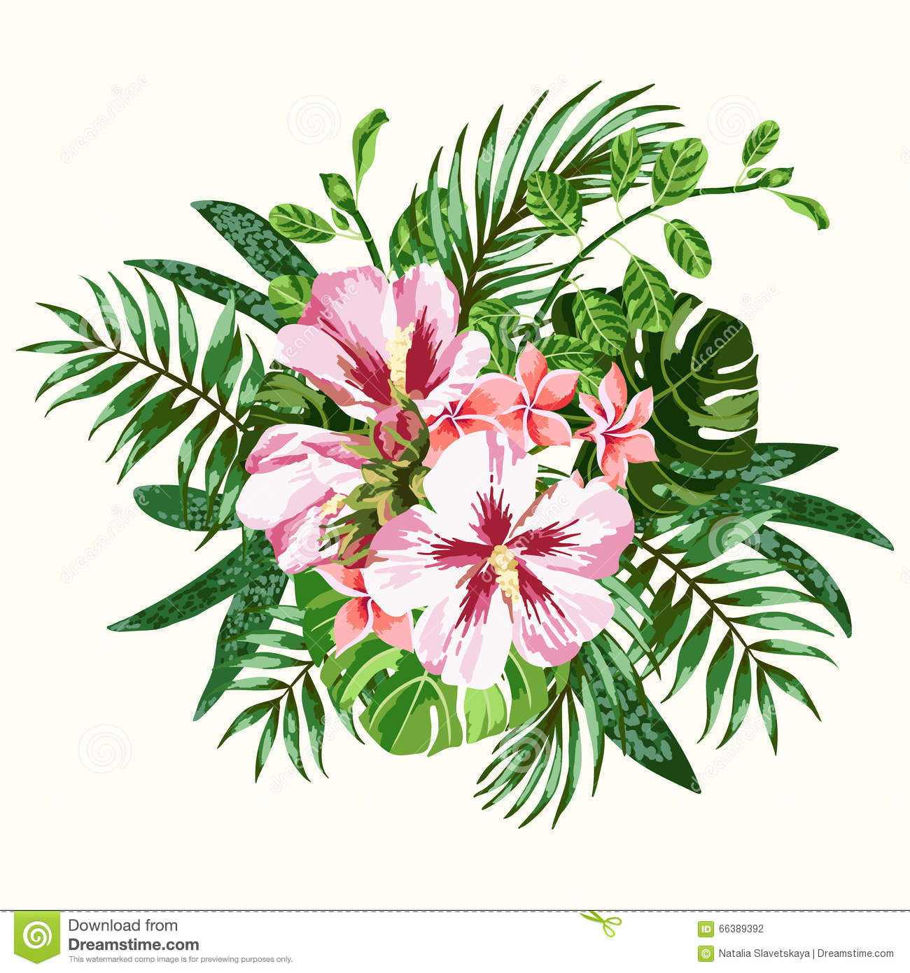 Bouquet of tropical flowers stock vector illustration for Bouquet de fleurs 974