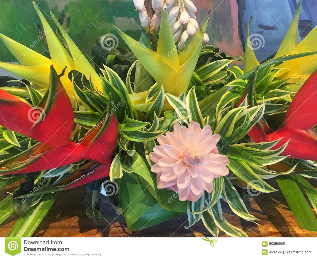 Bouquet Of Tropical Hawaiian Flowers Stock Photo - Image of leaves ...
