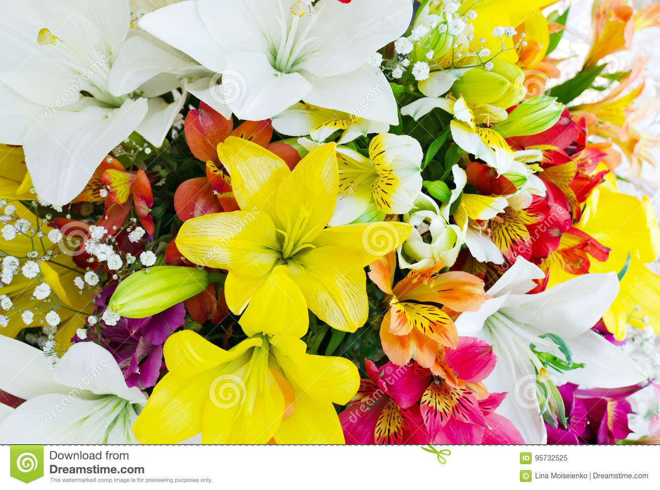 Bouquet From Various Color Big Flowers Bouquet Of Lilies Stock