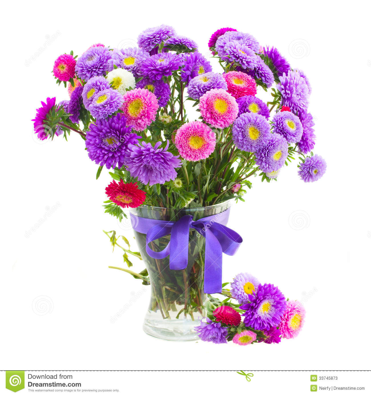 Bouquet of violet and pink aster flowers stock photo 33745873 megapixl mightylinksfo
