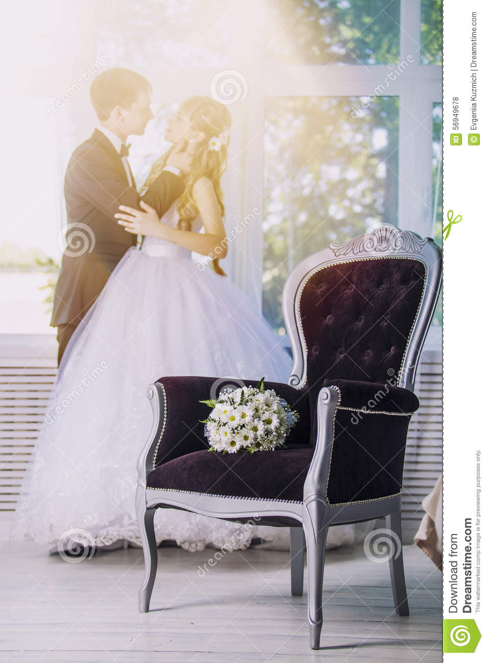 Bouquet Wedding Flowers Daisies In A Luxurious Chair In The Back