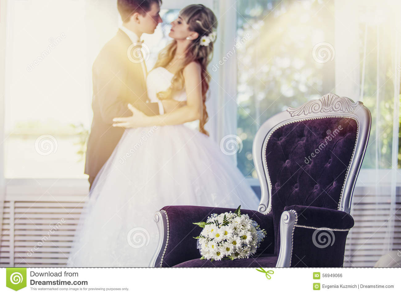 Bouquet Wedding Flowers Daisies In A Luxurious Chair Stock Photo
