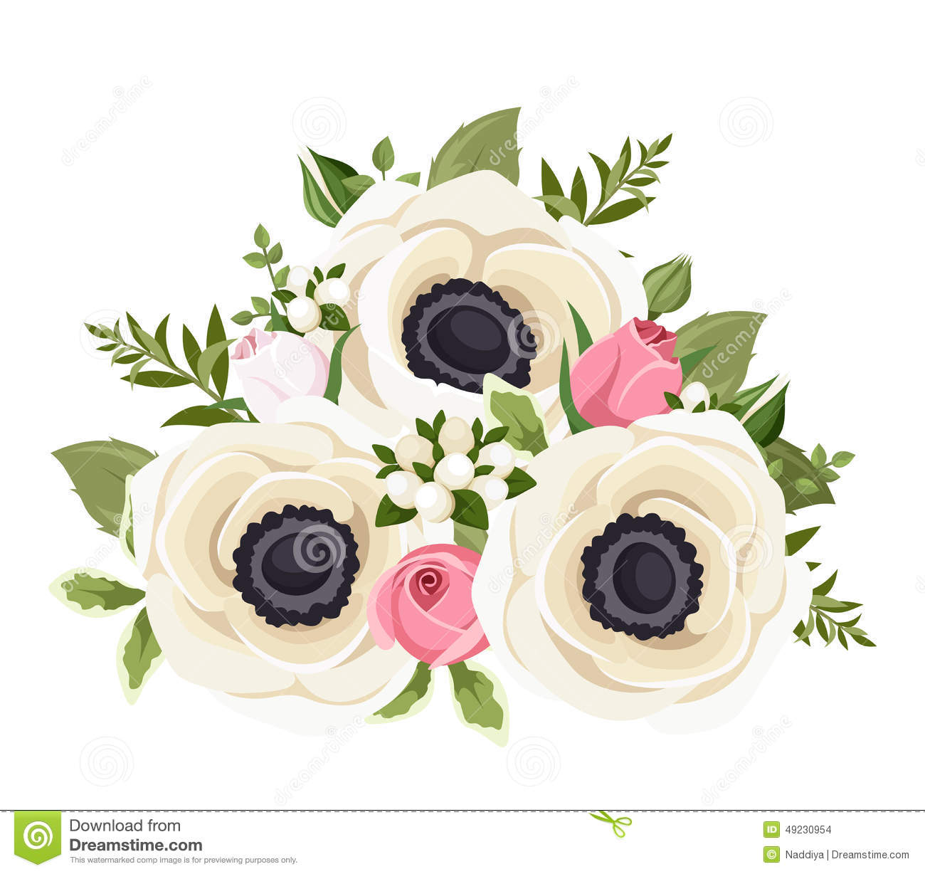 Bouquet Of White Anemone Flowers And Pink Rosebuds Vector