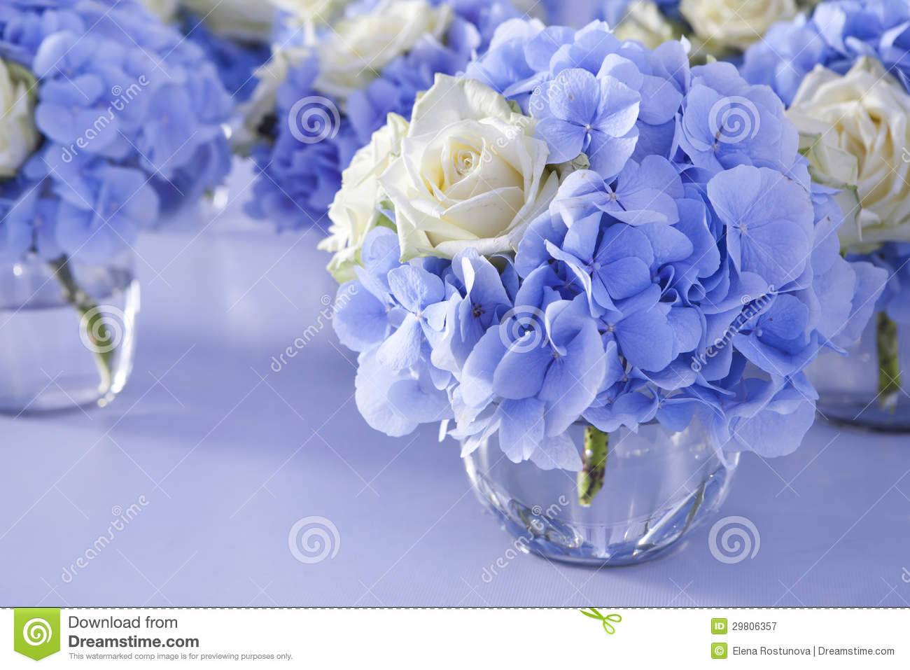 Bouquet Of White And Blue Flower In Vase Stock Image