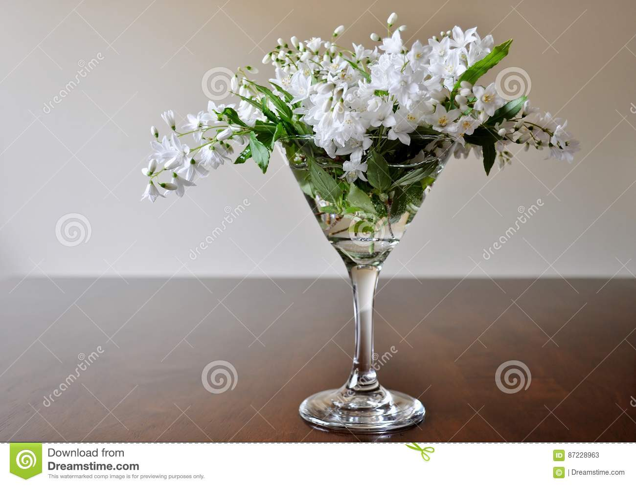 Bouquet Of White Flowers In Martini Glass. Stock Image - Image of ...