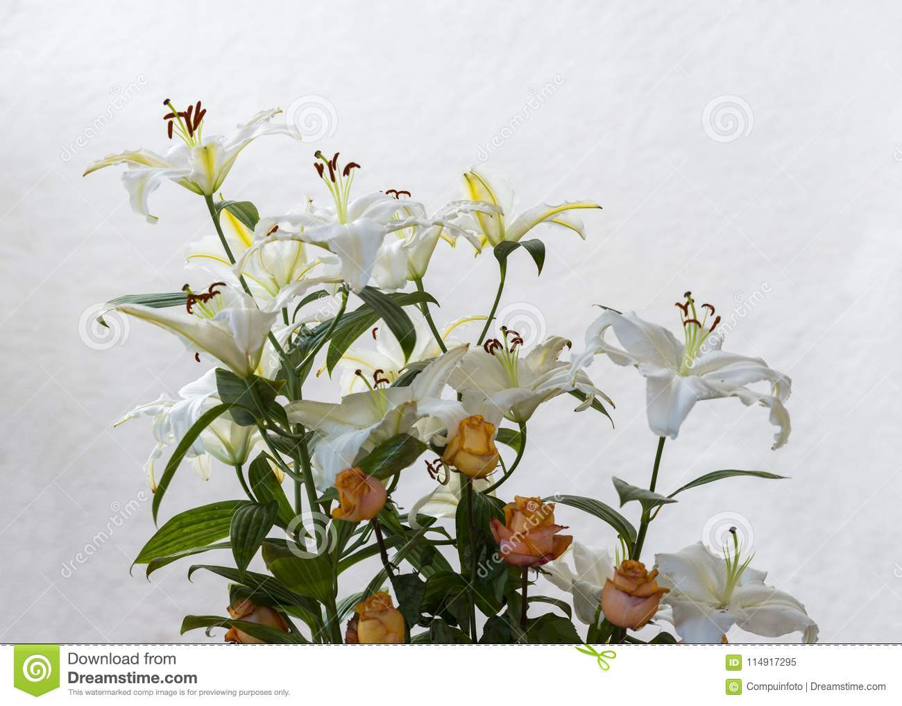 Bouquet Of Flowers Used For Condolence Stock Image - Image of green ...