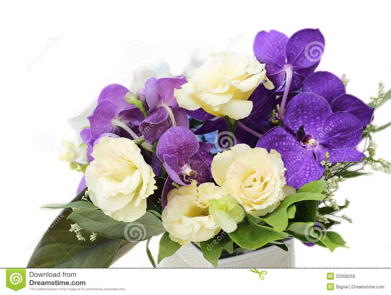 Bouquet With White Orchids, Roses, Hydrangea Flower Stock Photo ...