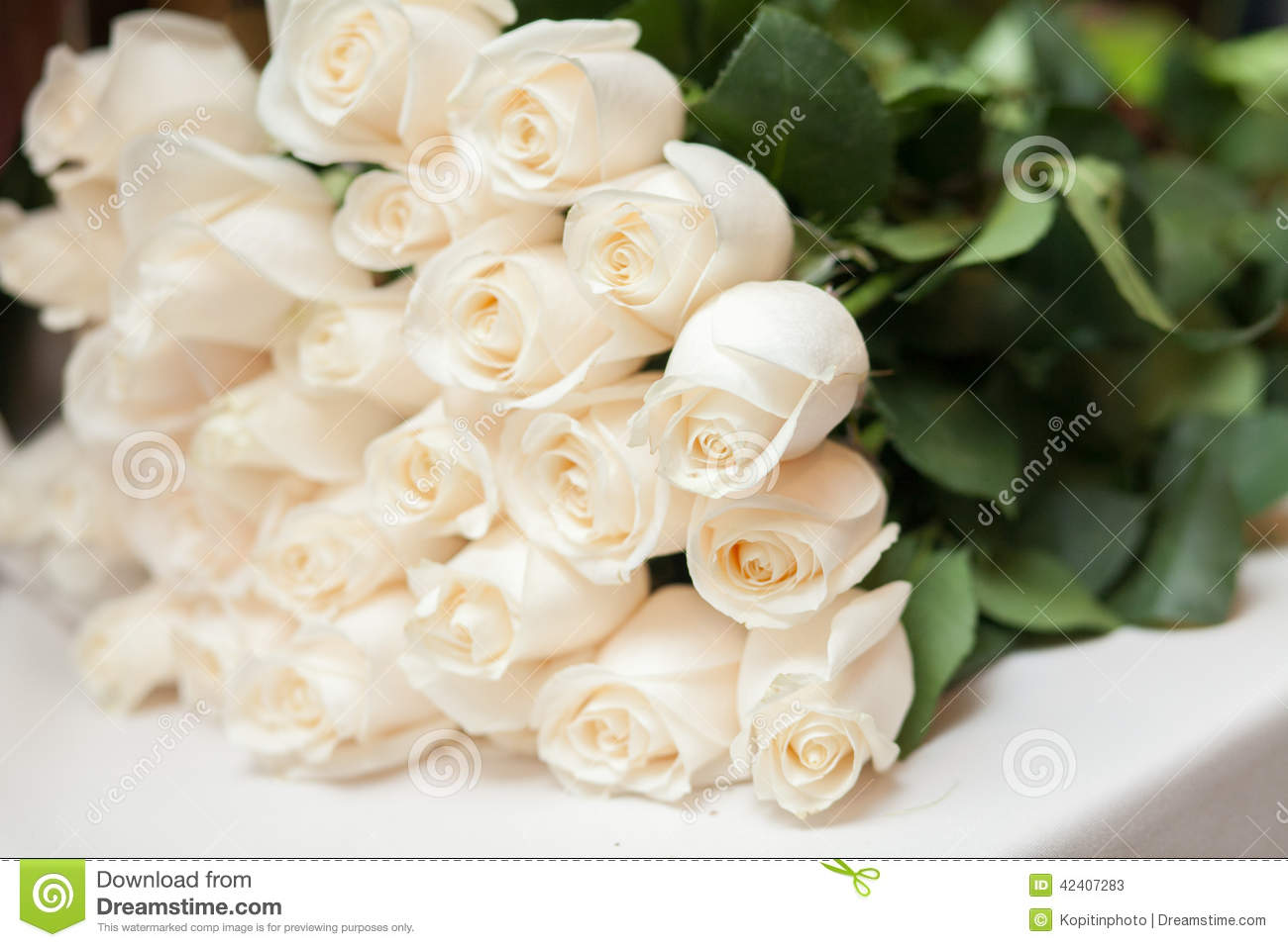 Bouquet Of White Roses Stock Image Image Of Detail Marriage 42407283