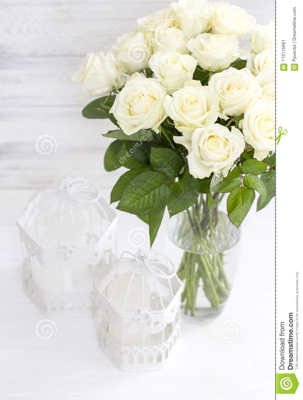Bouquet Of White Roses In A Vase Stock Image Image Of Nice Bloom