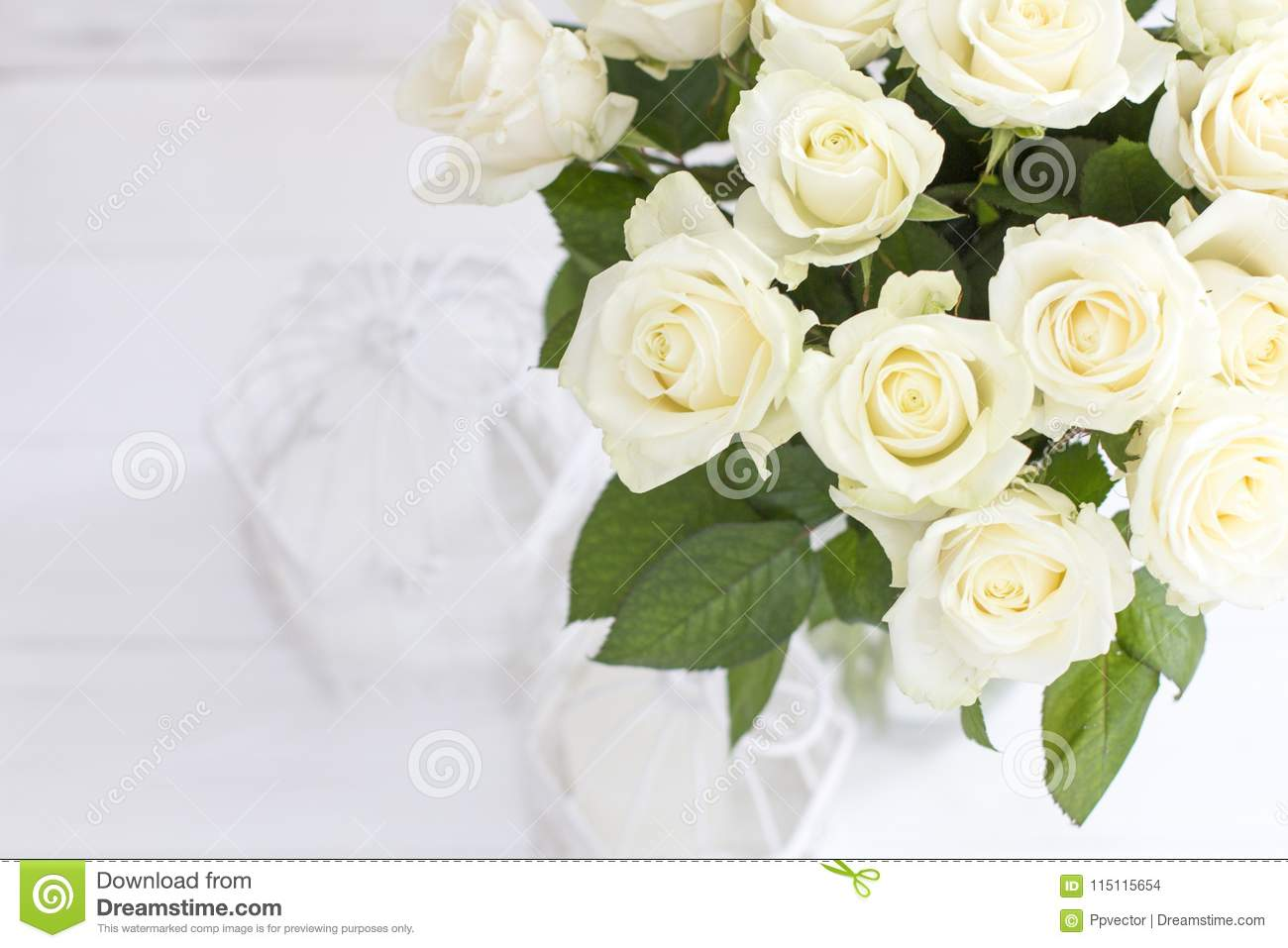 Bouquet Of White Roses In A Vase Stock Photo Image Of Bunch