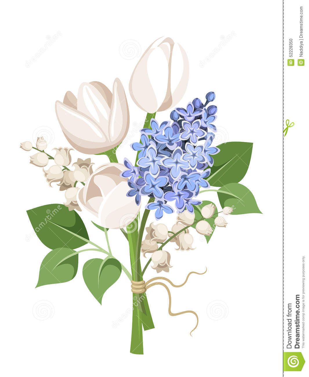 Bouquet Of White Tulips, Blue Lilac Flowers And Lily Of