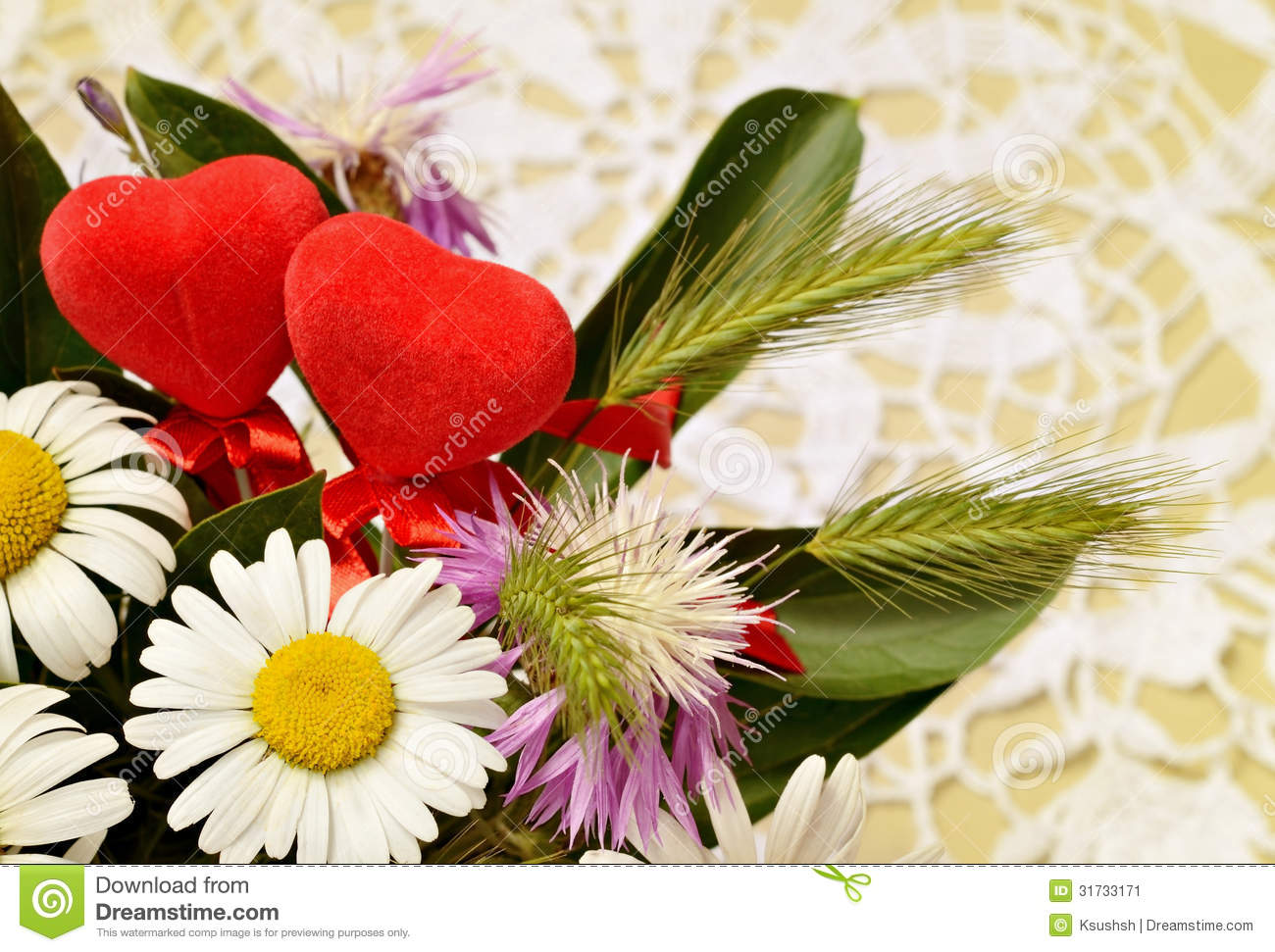 Bouquet of wid flowers and two hearts on crochet background stock download bouquet of wid flowers and two hearts on crochet background stock image image of izmirmasajfo