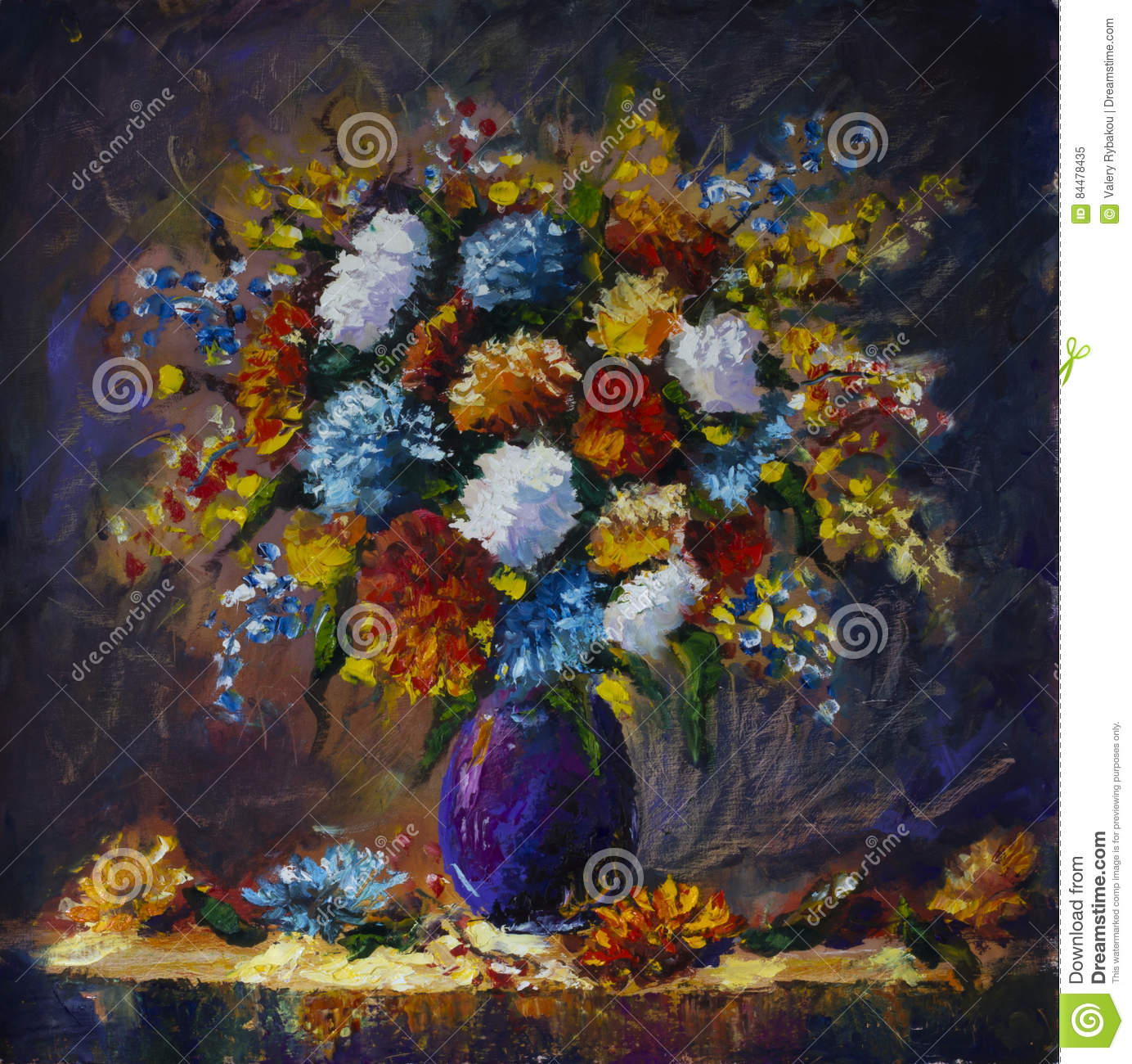 Bouquet Of Wild Flowers In A Vase Stock Illustration Illustration Of Wildflowers Design 84478435