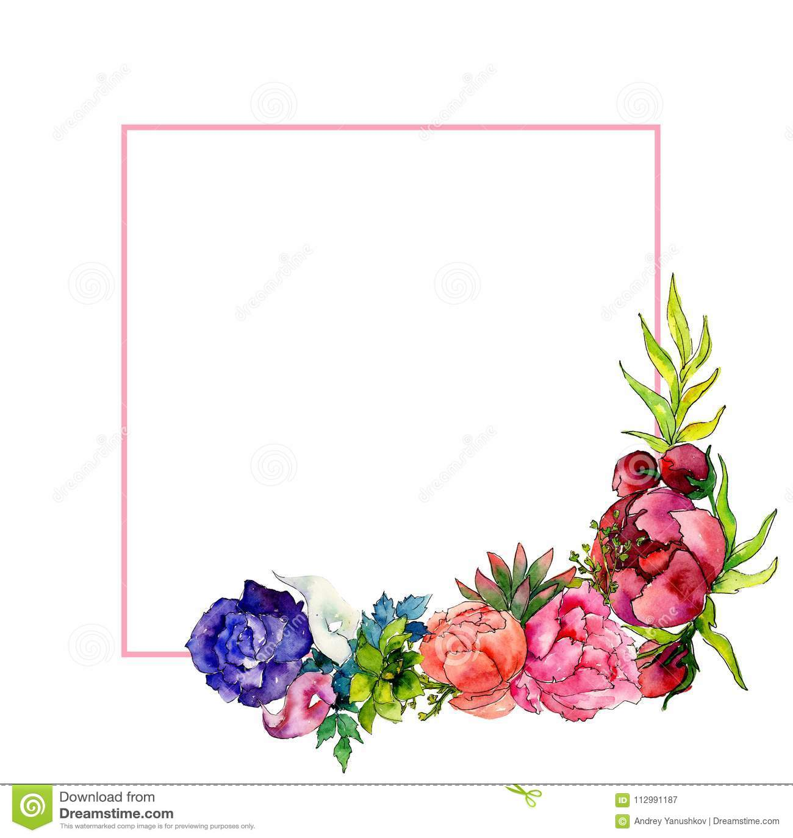 Bouquet wildflower flower frame in a watercolor style.