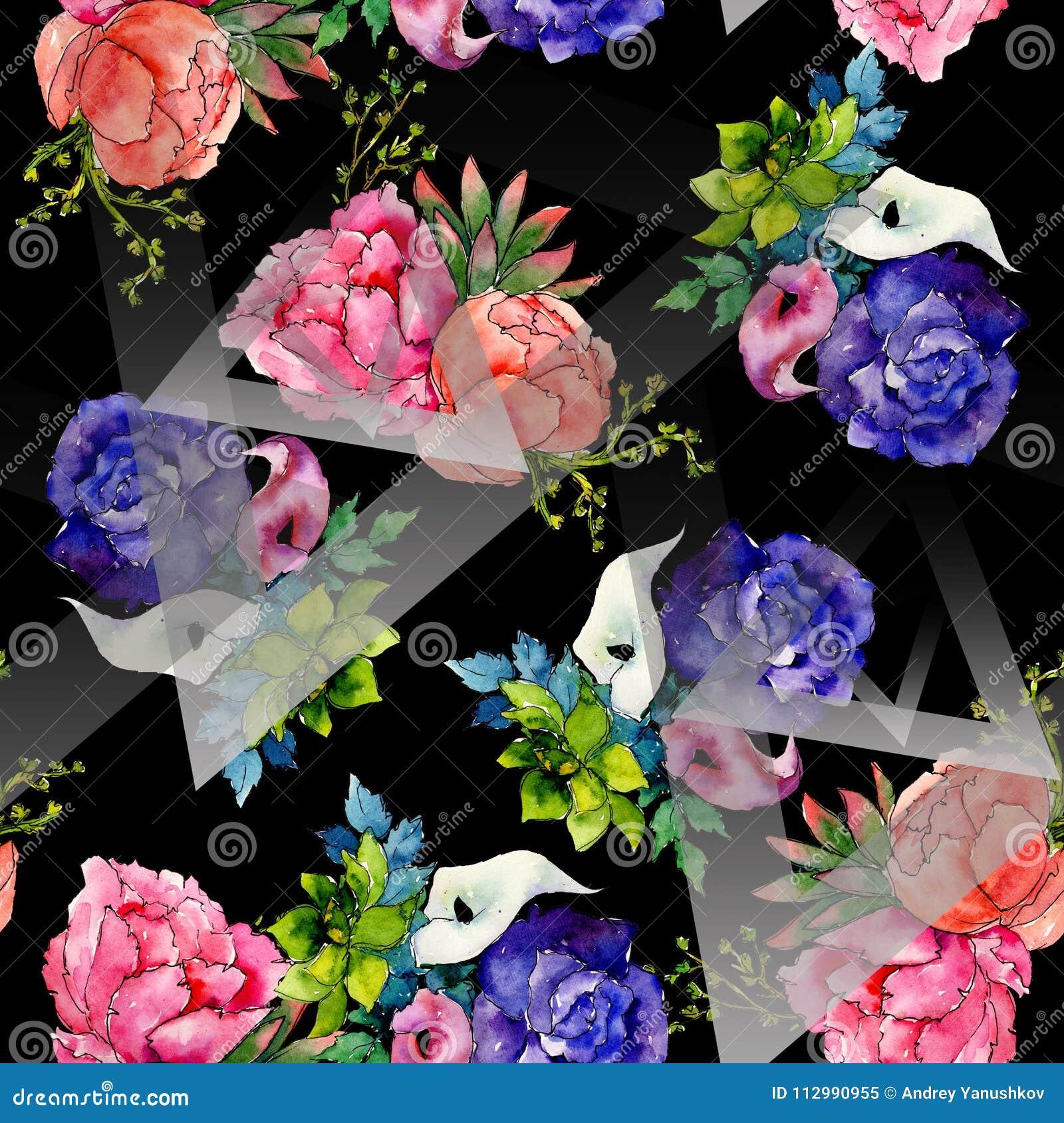 Bouquet wildflower flower pattern in a watercolor style.