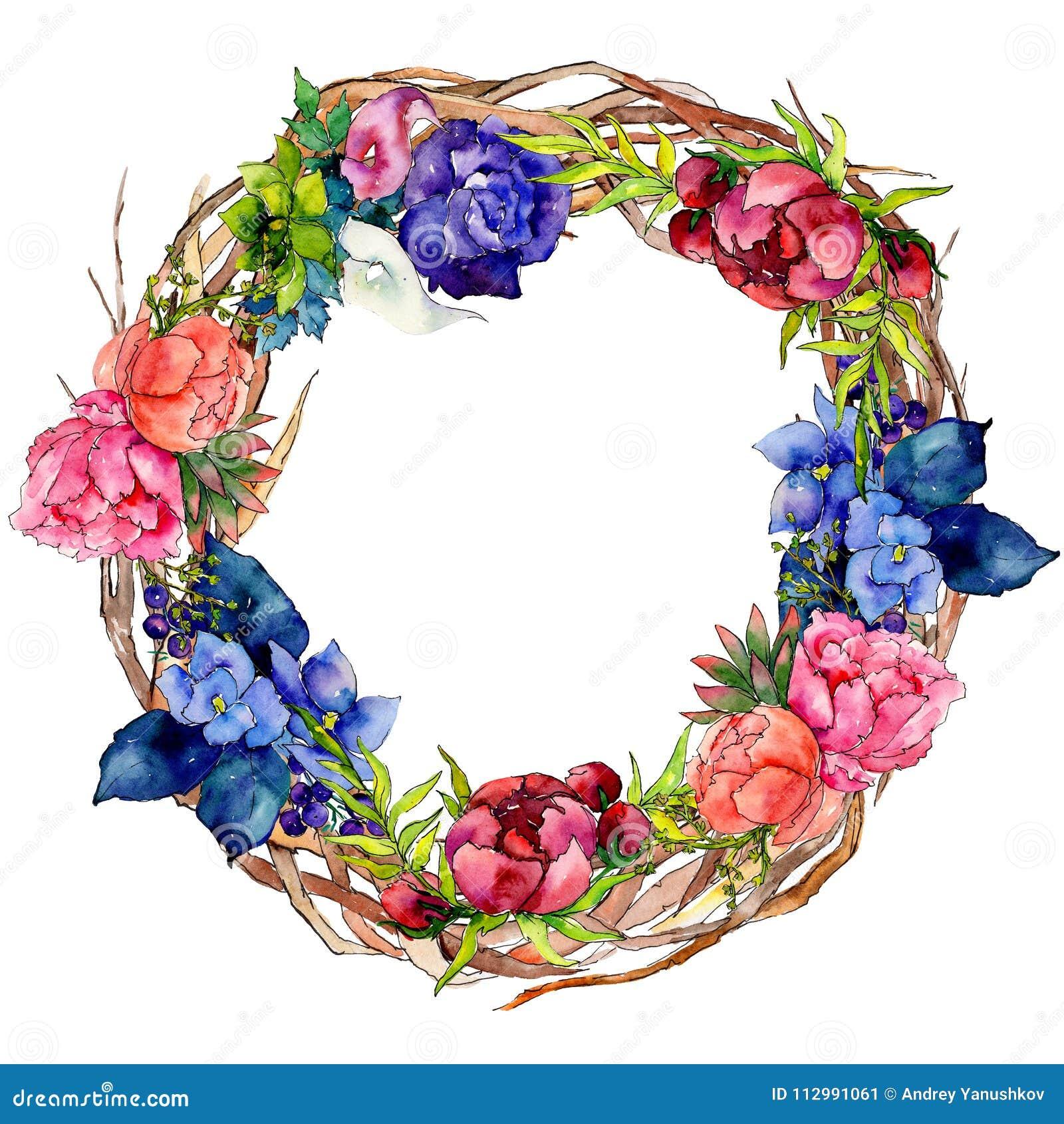 Bouquet wildflower flower wreath in a watercolor style.