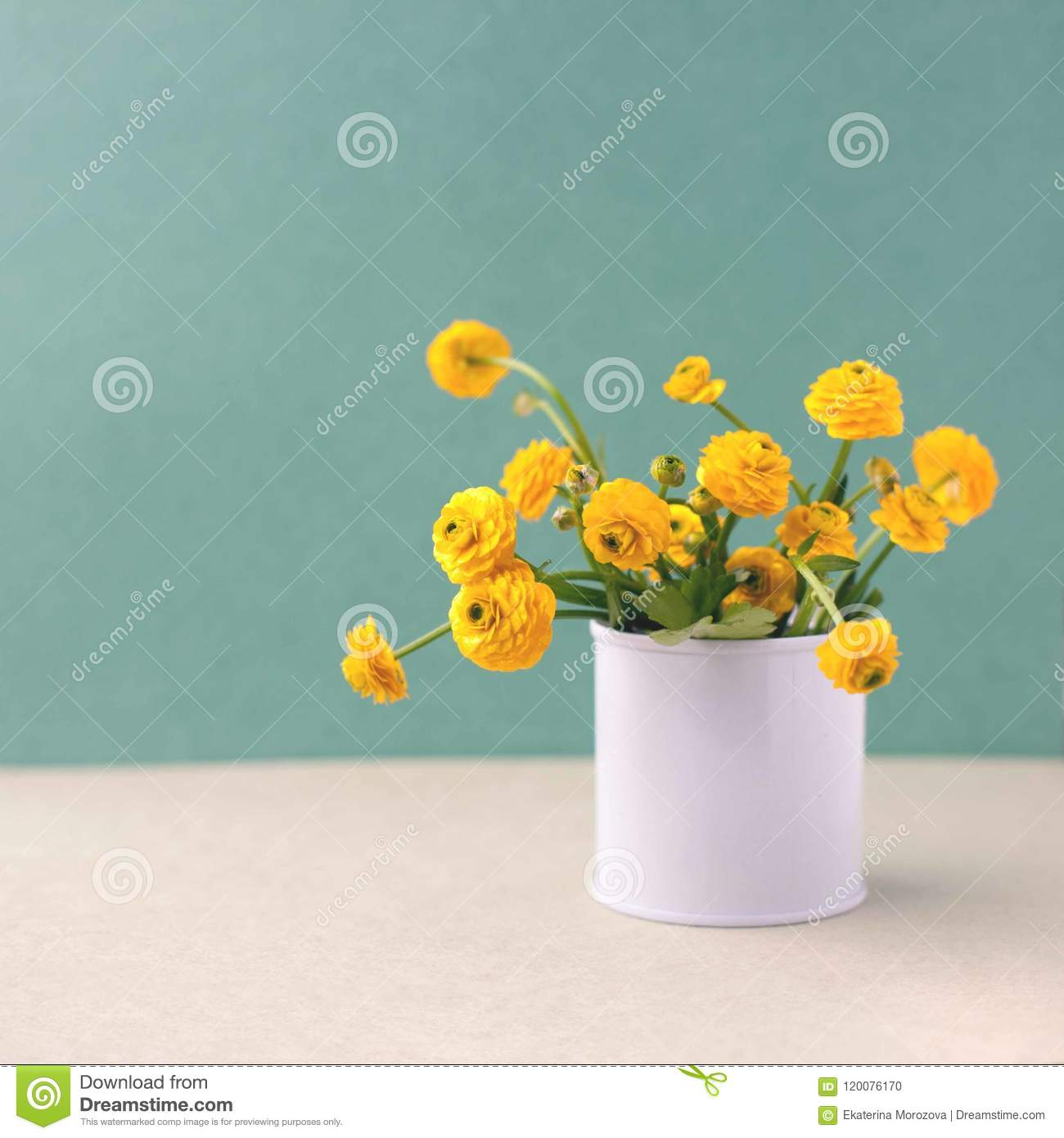 Bouquet Of Yellow Flowers In A Bank Floral Decoration Spring And
