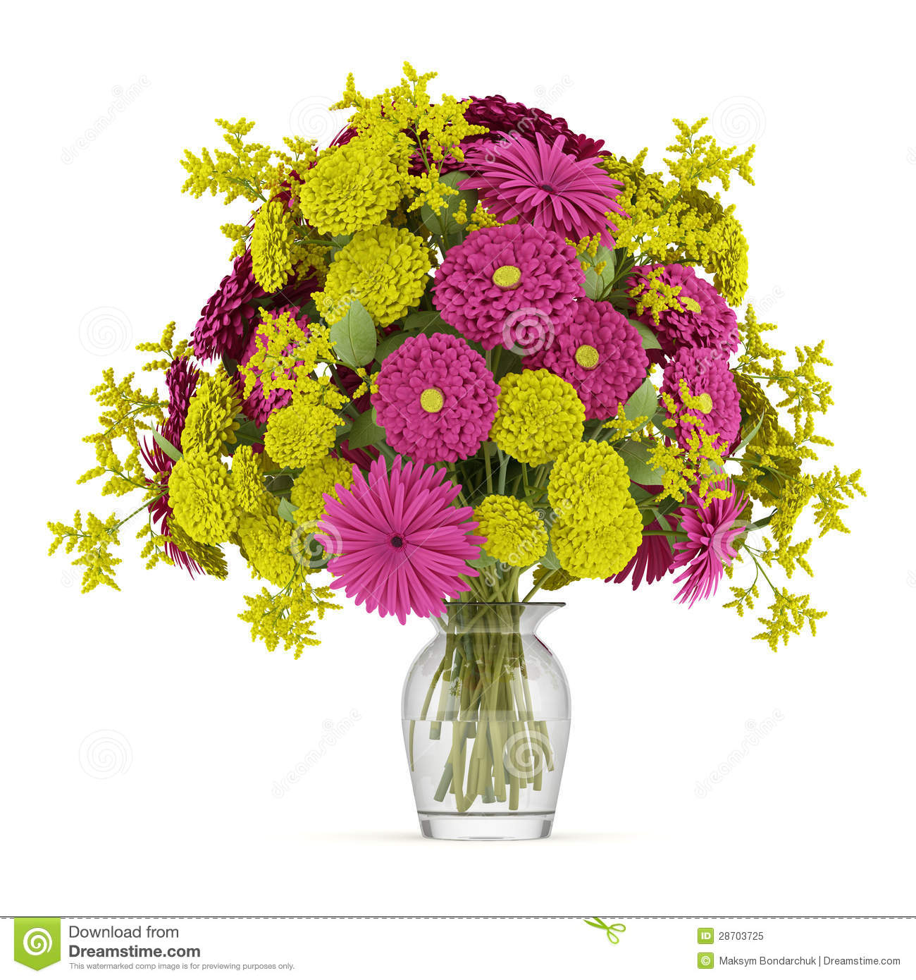 Bouquet of yellow and purple flowers in vase isolated on white stock download bouquet of yellow and purple flowers in vase isolated on white stock illustration illustration mightylinksfo