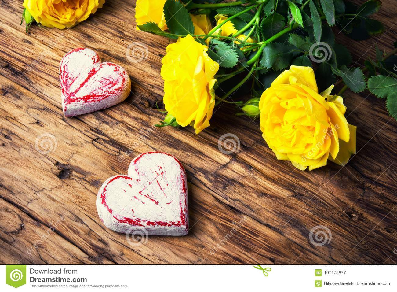 Spring Flowers And Symbolic Red Hearts Stock Image Image Of Event