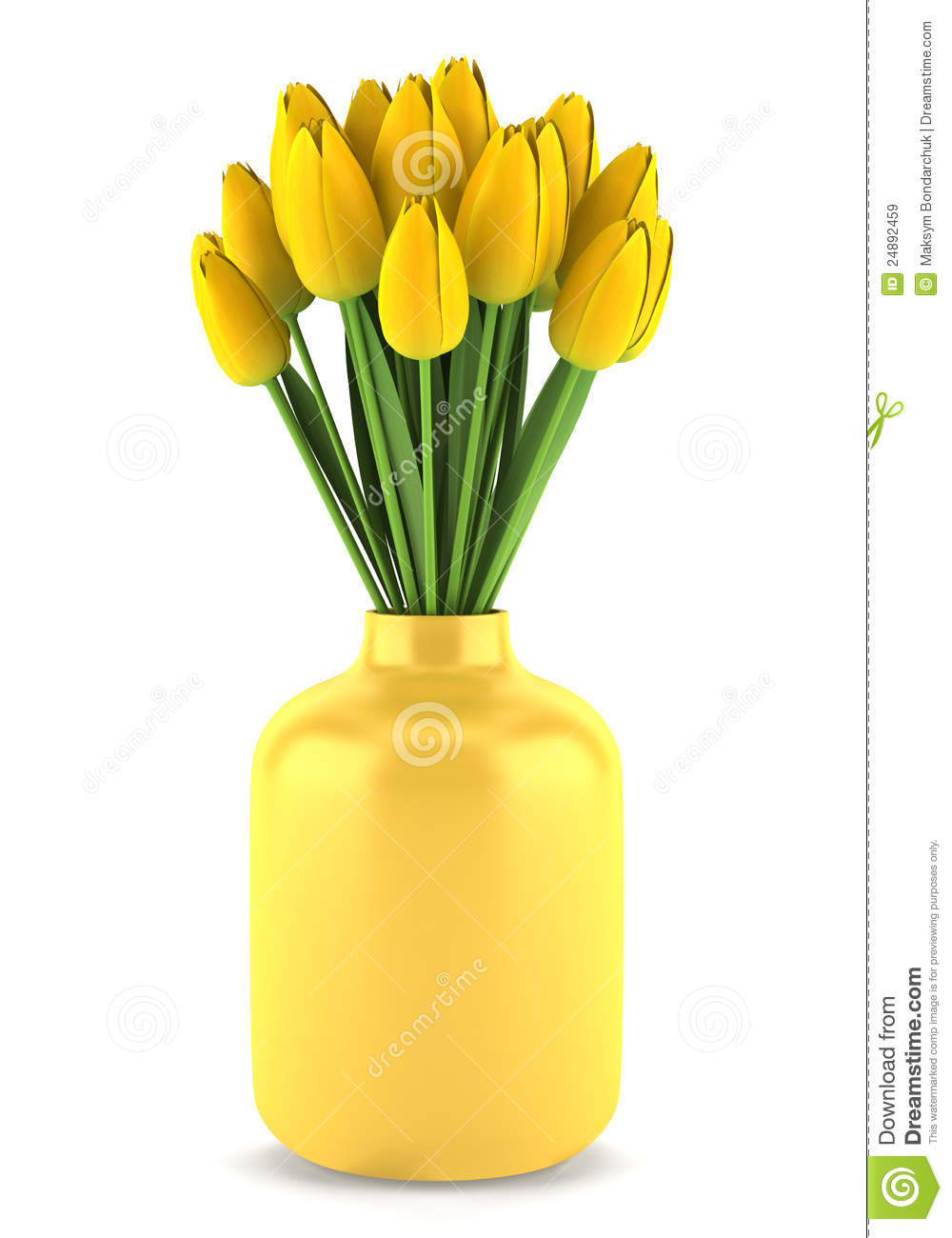 Bouquet Of Yellow Tulips In Vase Isolated On White Royalty Free Stock ...
