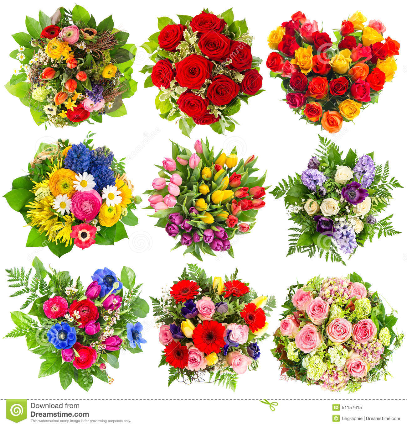 Bouquets Of Colorful Flowers For Birthday Wedding Easter Holi