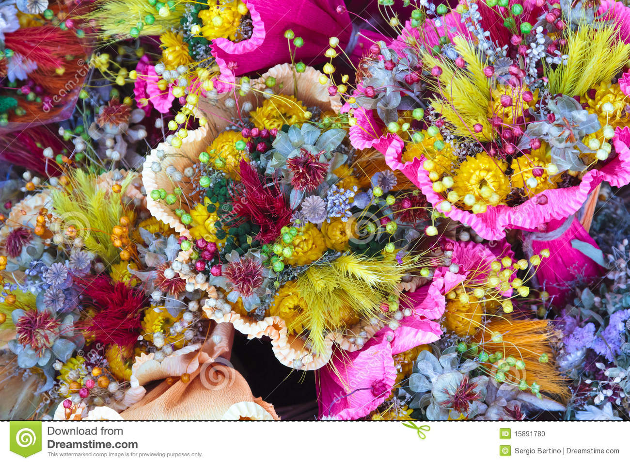 Bouquets Of Flowers Stock Photo Image Of Colored Bright 15891780