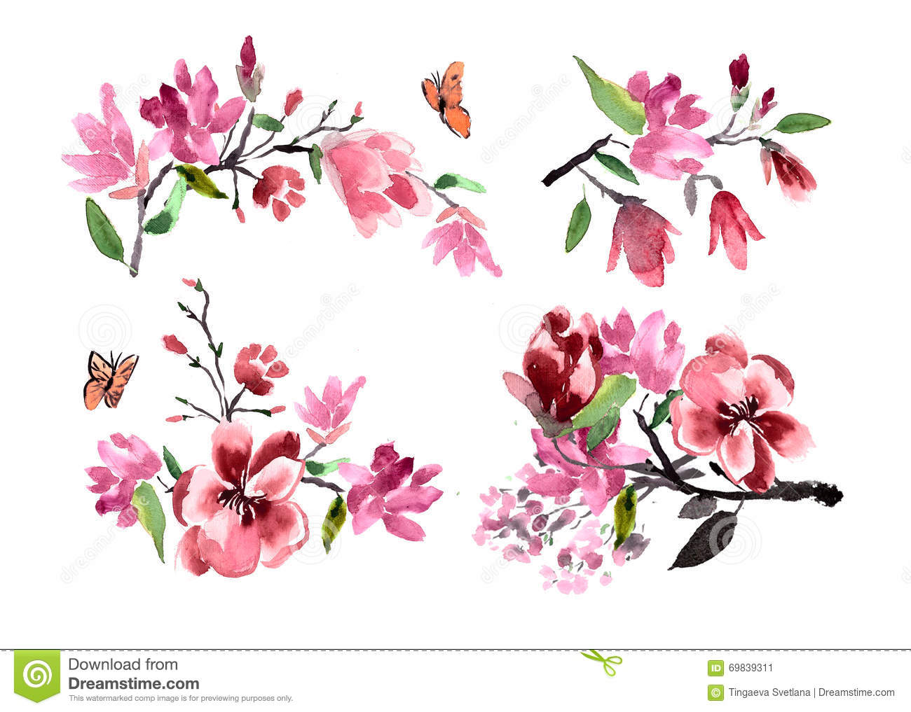 Bouquets of flowers magnolia watercolor painted stock illustration bouquets of flowers magnolia watercolor painted biocorpaavc