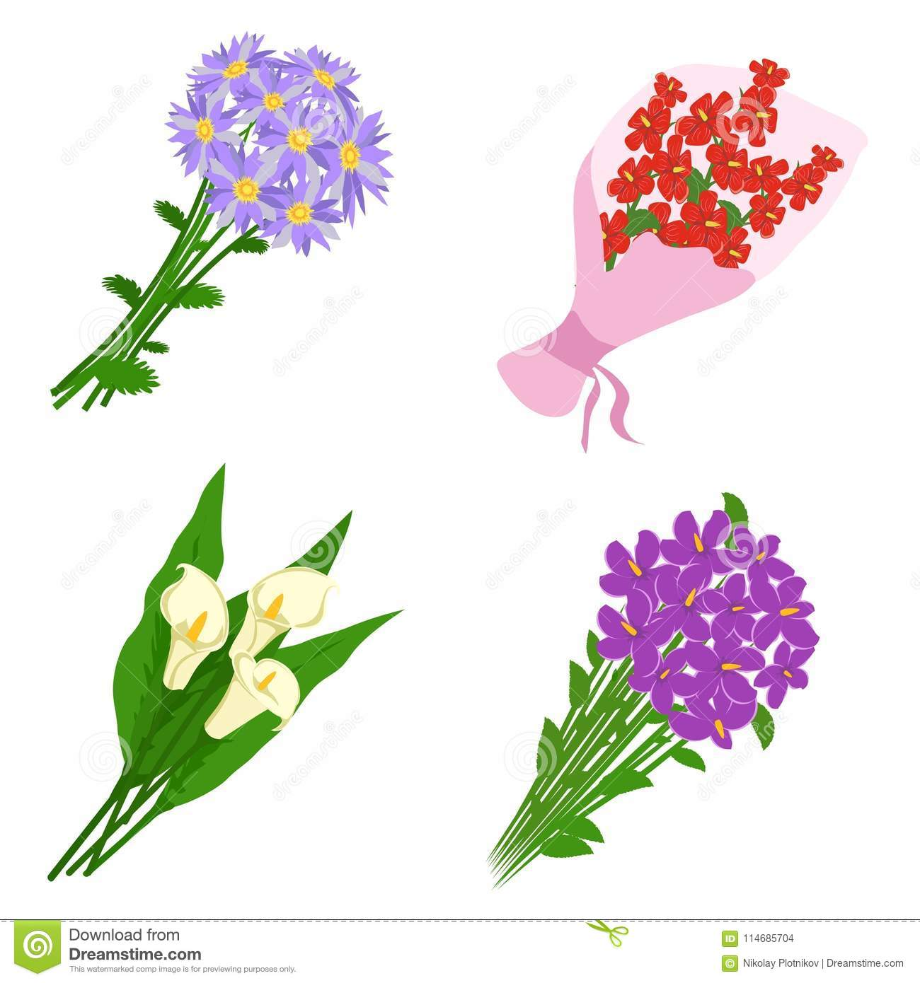 Bouquets Flowers Set Isolated On White Background Bunch Of