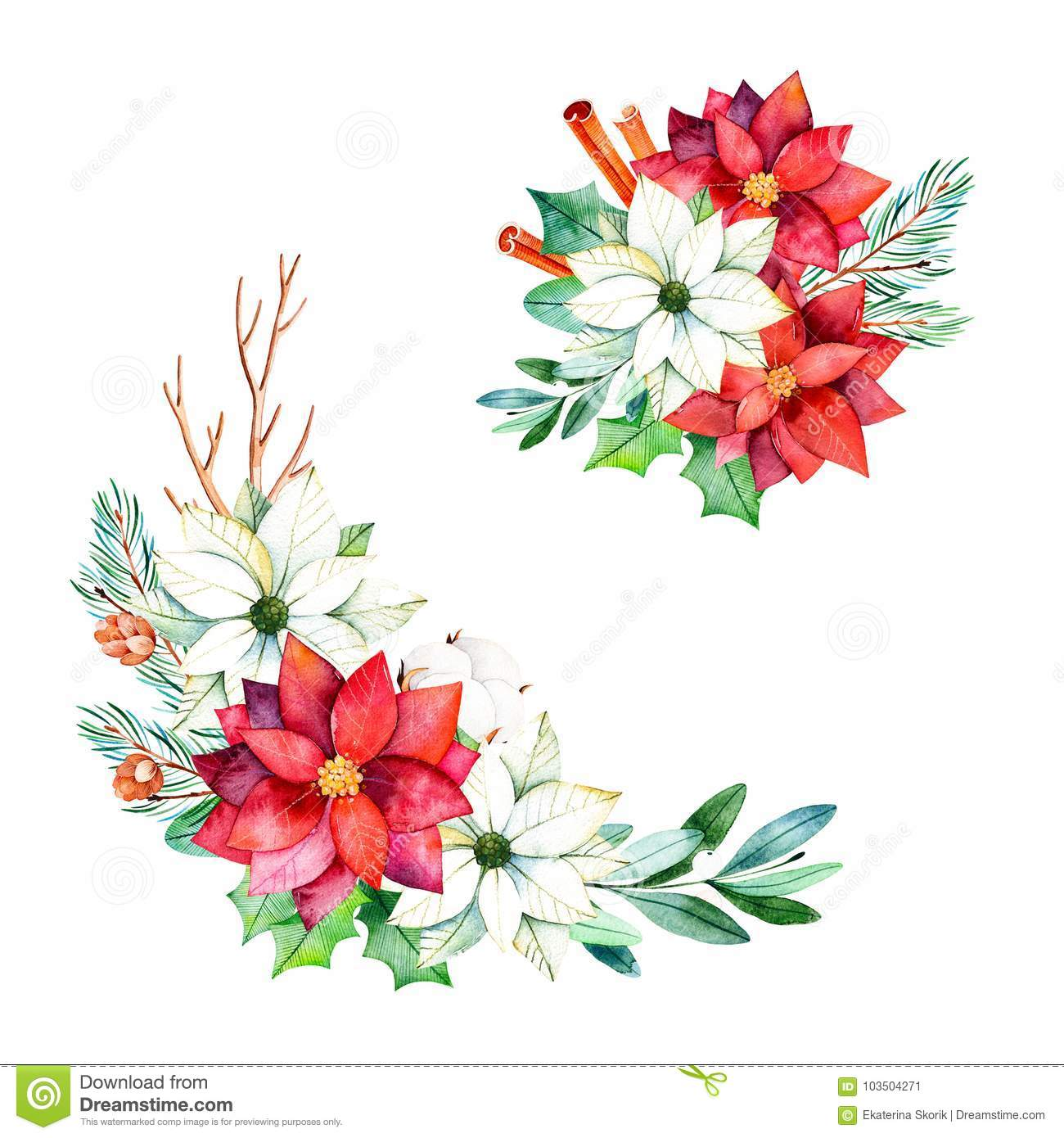 2 bouquets with leaves branches cotton flowers stock illustration