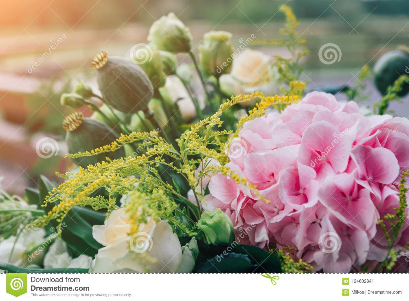 Bouquets Of Pink Hydrangeas And Exotic Flowers Stock Image Image