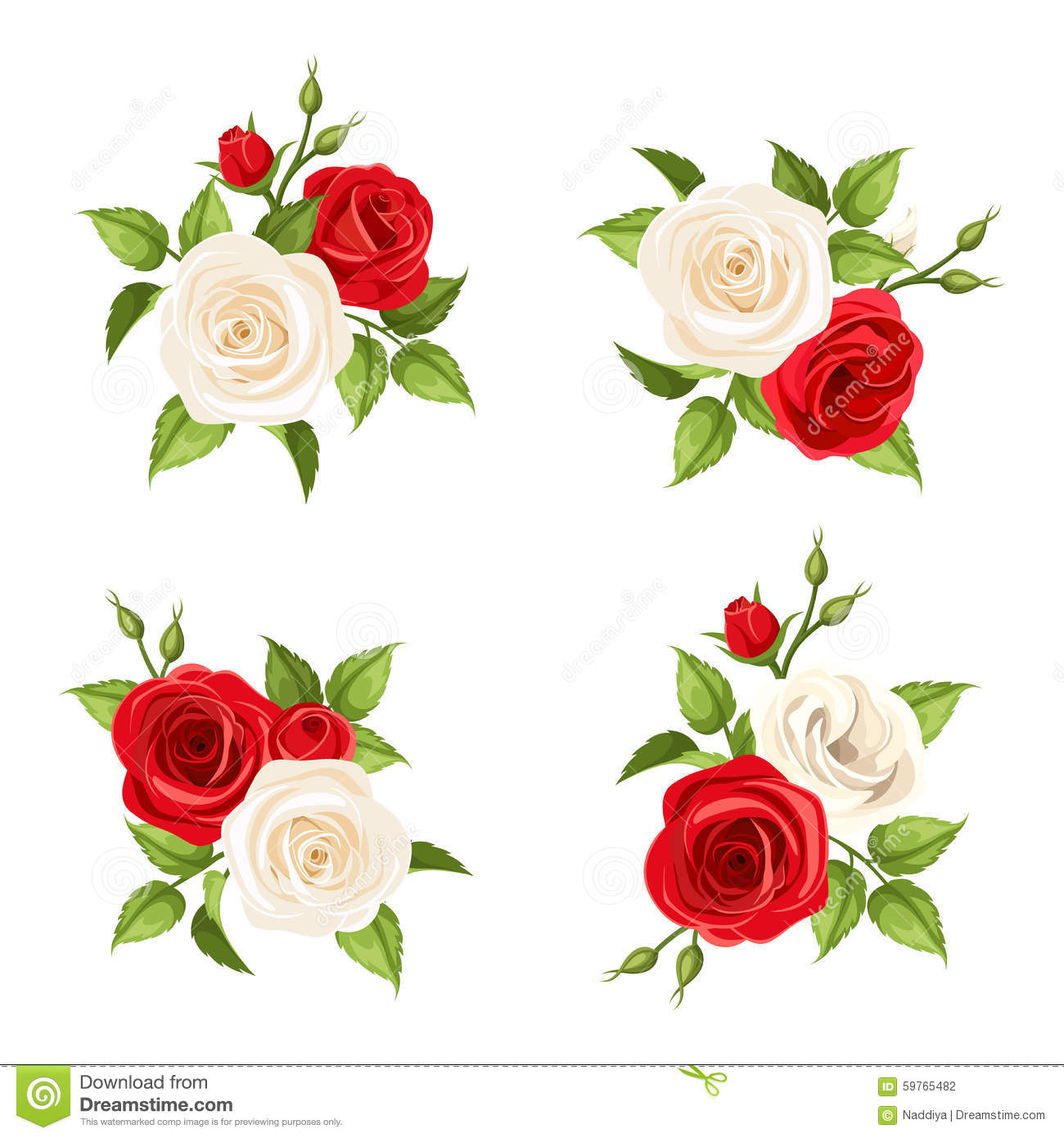 Bouquets Of Red And White Roses Vector Set Of Four