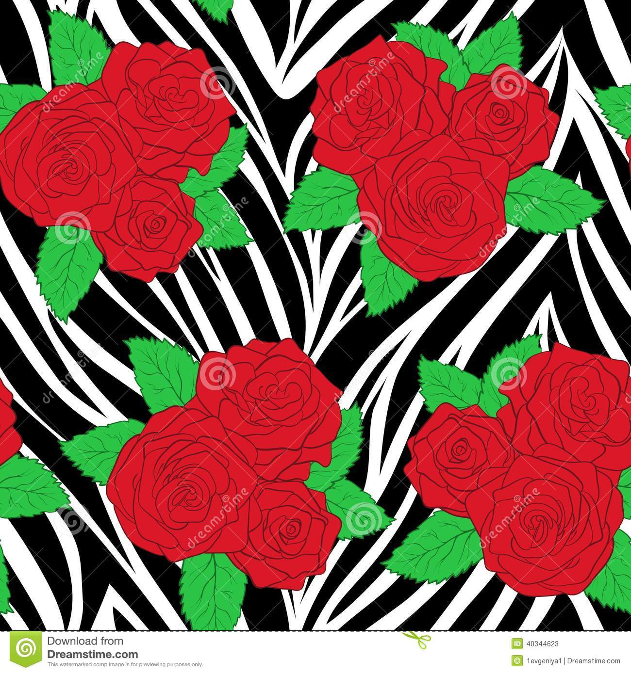 Bouquets Of Roses On Animal Zebra Abstract Print.ΠStock ...