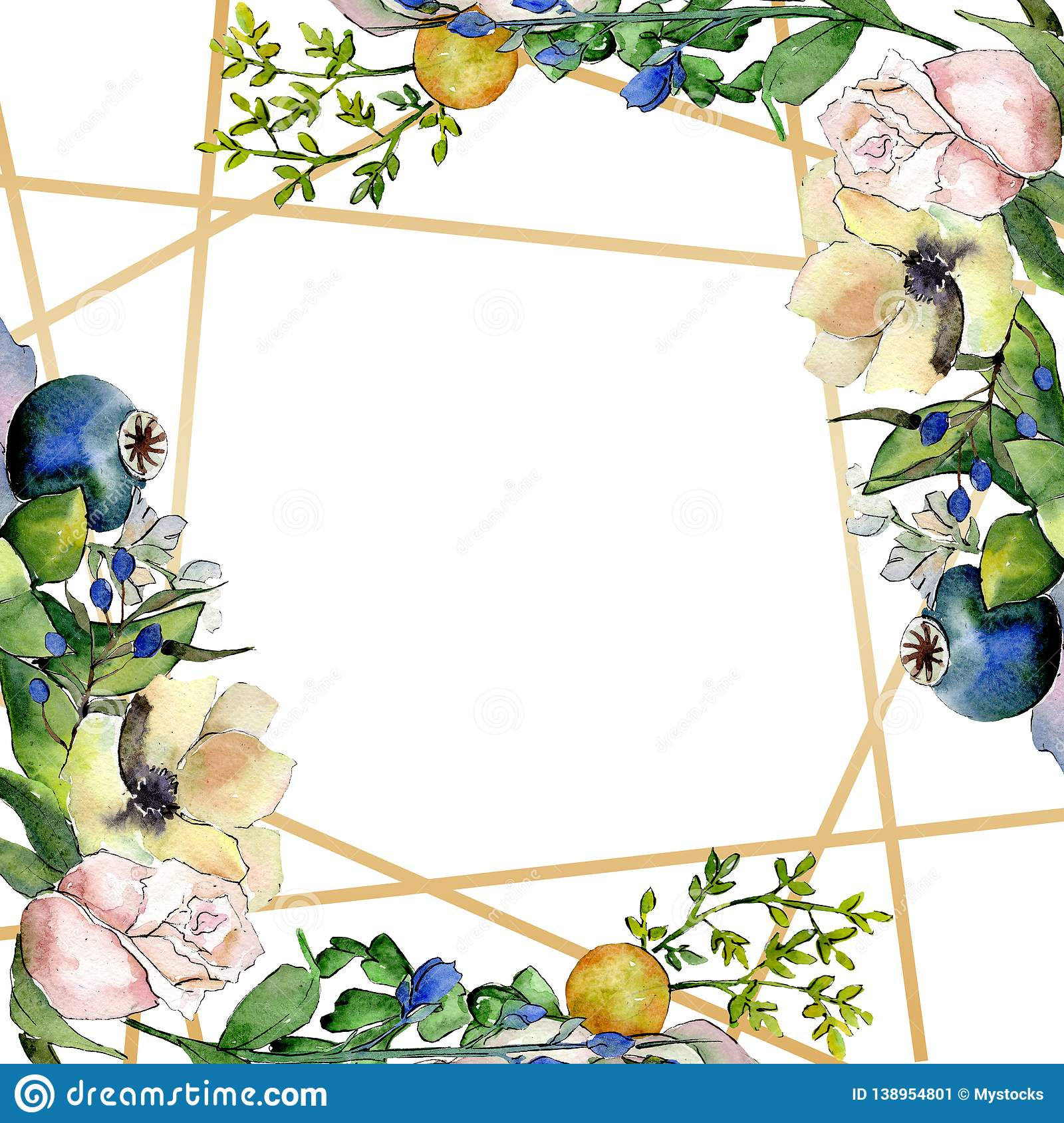 Bouquets With Succulent Botanical Flowers Watercolor Background Illustration Set Frame Border Crystal Ornament Square Stock Illustration Illustration Of Drawing Corner 138954801