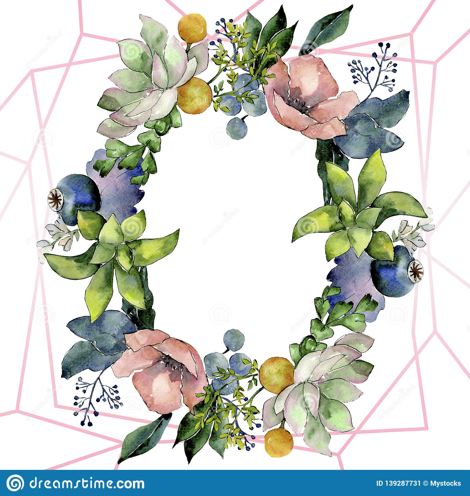 Bouquets With Succulent Botanical Flowers Watercolor Background Illustration Set Frame Border Crystal Ornament Square Stock Illustration Illustration Of Fall Bouquets 139287731