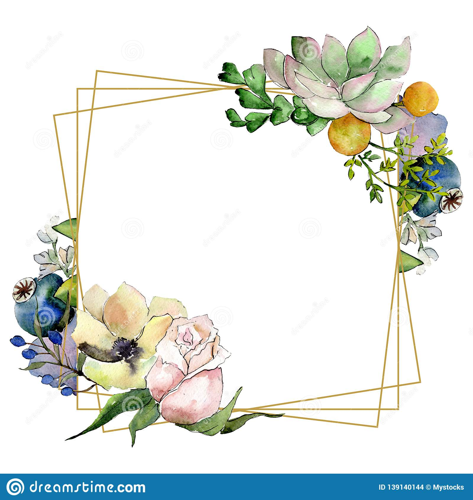 Bouquets With Succulent Botanical Flowers Watercolor Background Illustration Set Frame Border Crystal Ornament Square Stock Illustration Illustration Of Blue Garden 139140144