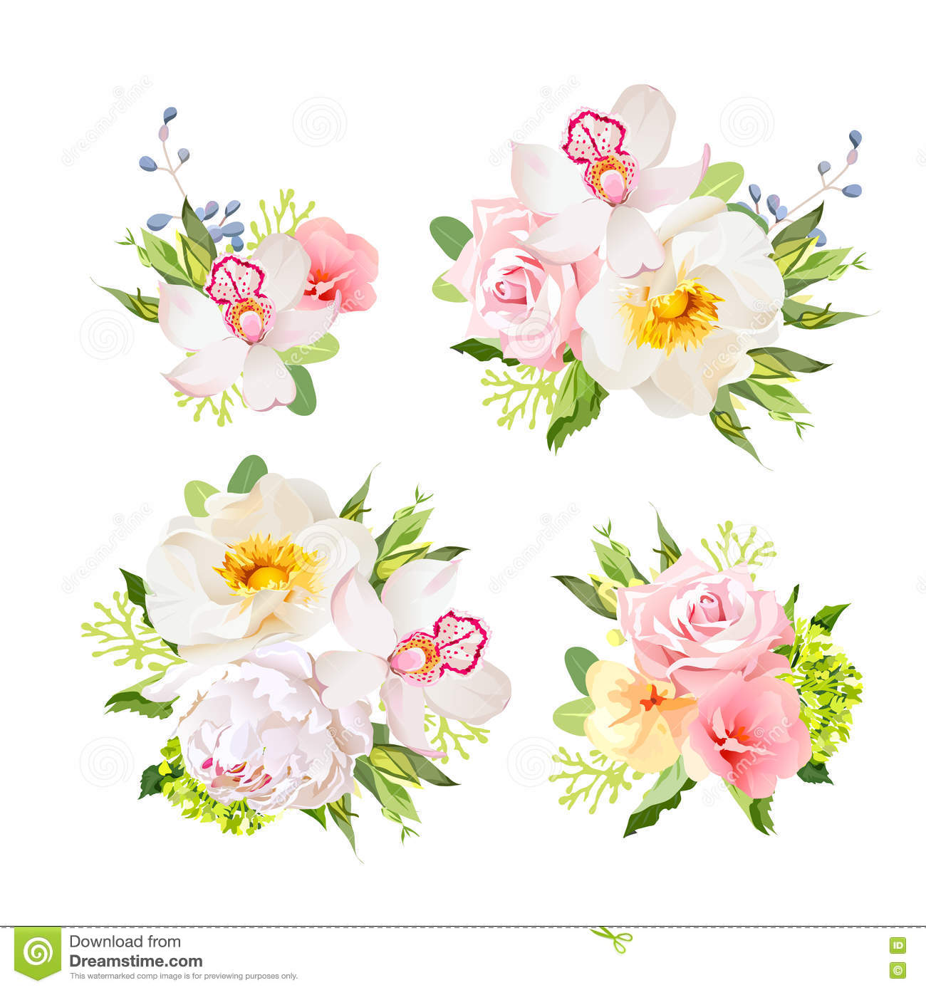 Bouquets Of Wild Rose Orchid Peony Green Hydrangea Pink Flowers