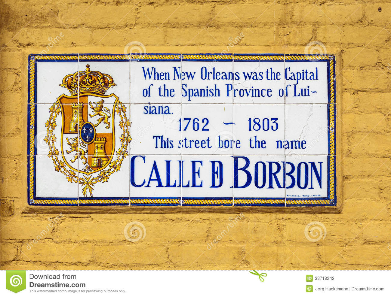 Bourbon Street Historic Street Sign Stock Photo - Image of house ...