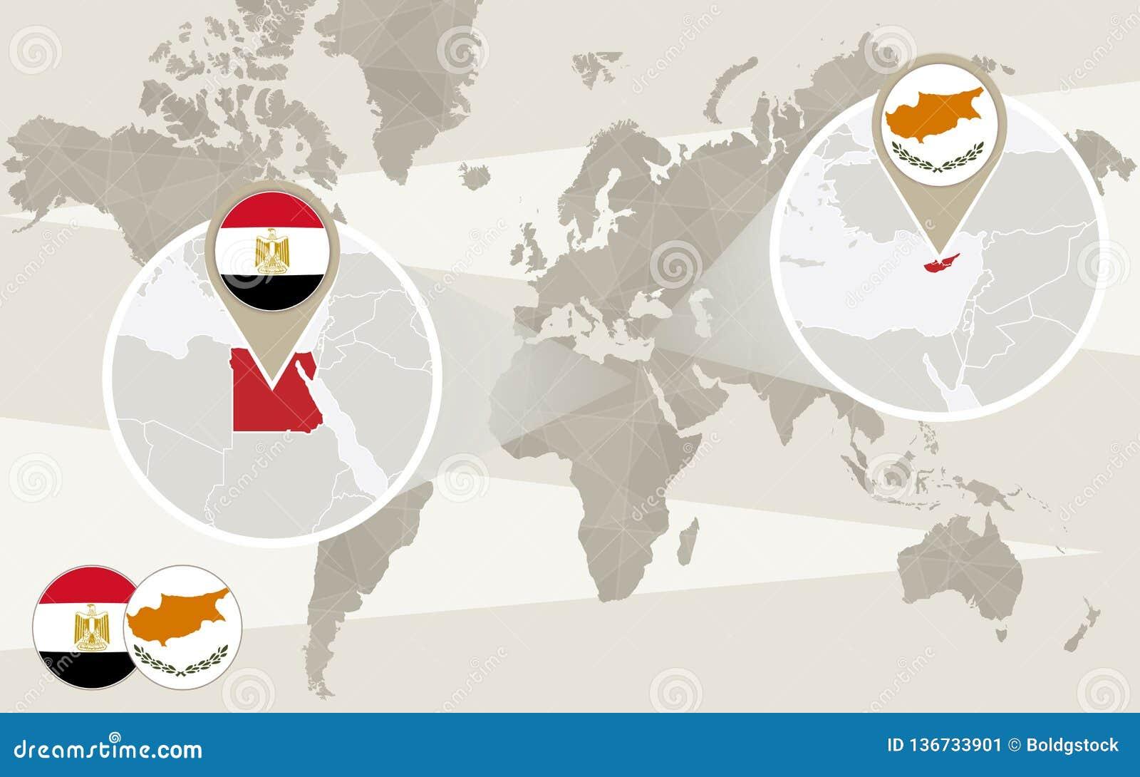 Bourdonnement De Carte Du Monde Sur L Egypte Chypre Illustration De Vecteur Illustration Du Chypre Bourdonnement 136733901