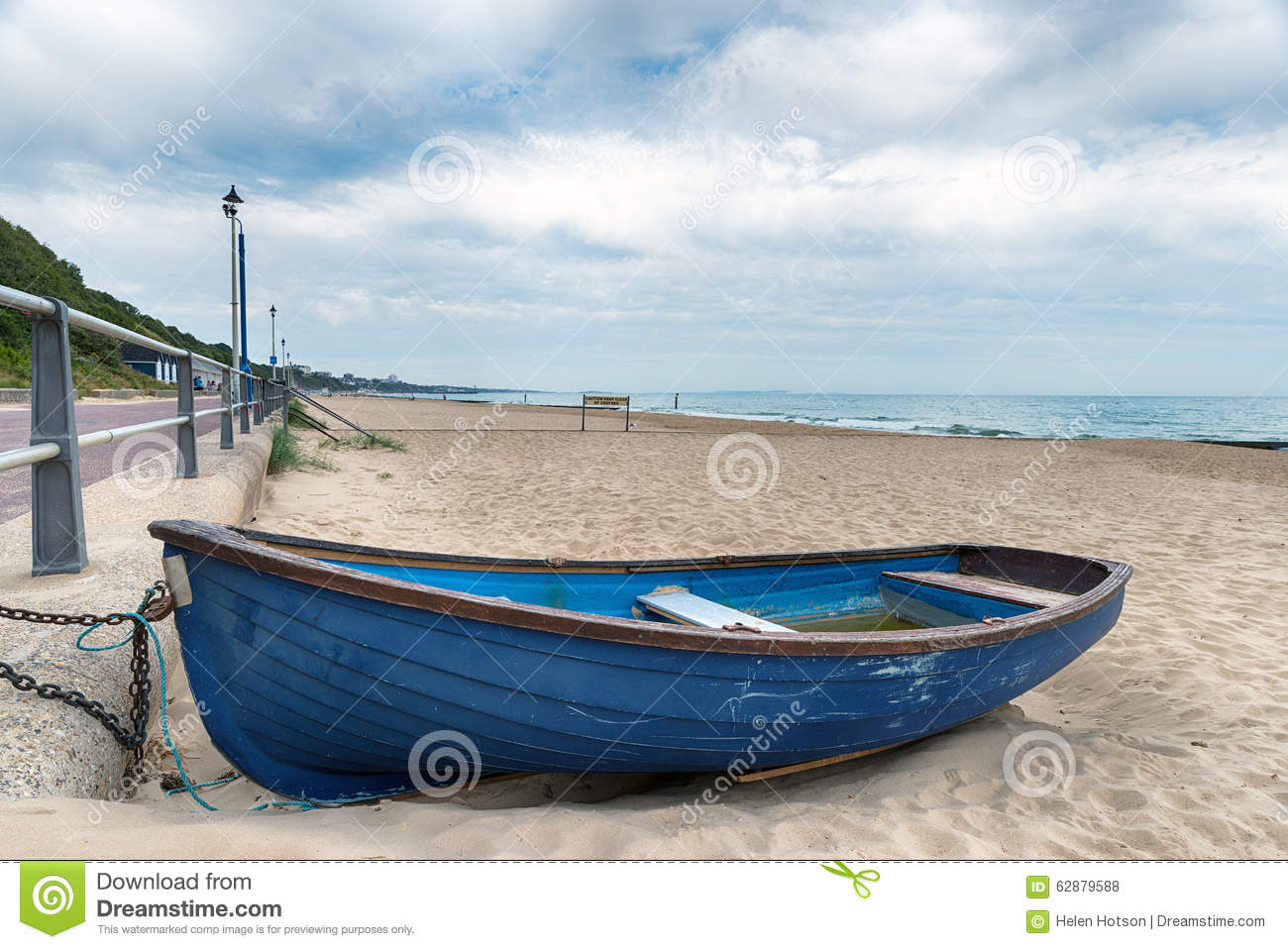 rowing boat on the beach at Bournemouth on the Dorset coast.