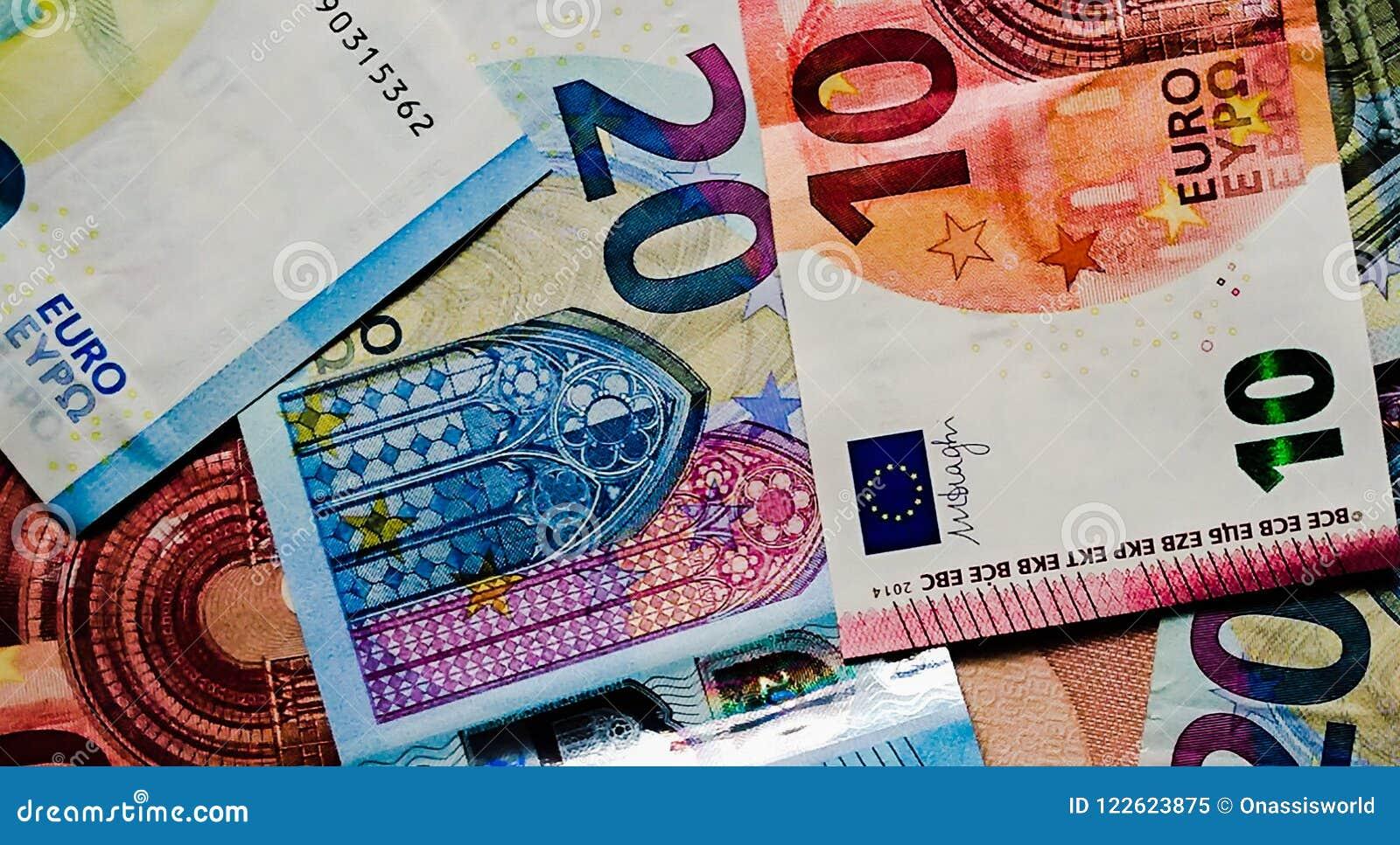Bourses de finances de plan rapproché d argent de notes d euro