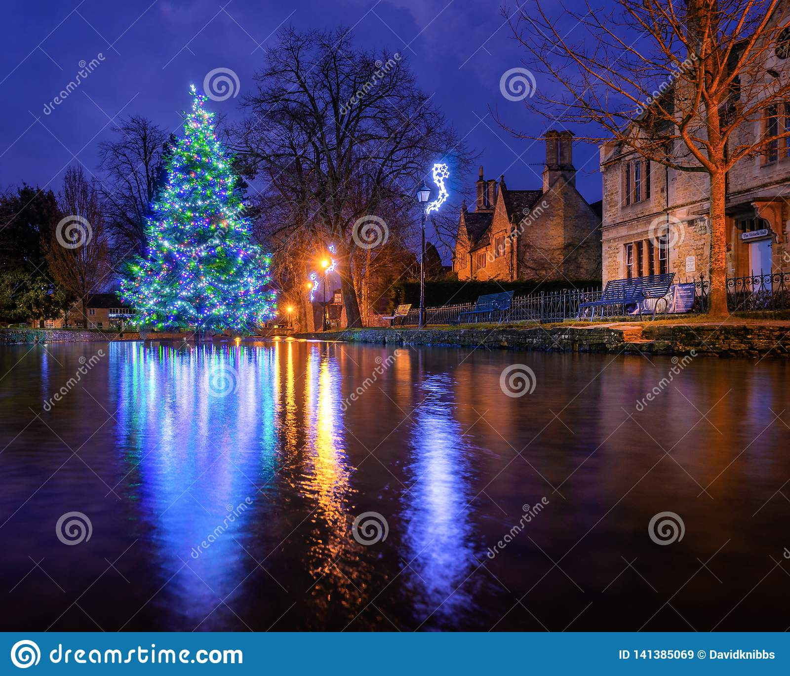 Bourton On The Water Christmas Tree In The River Windrush