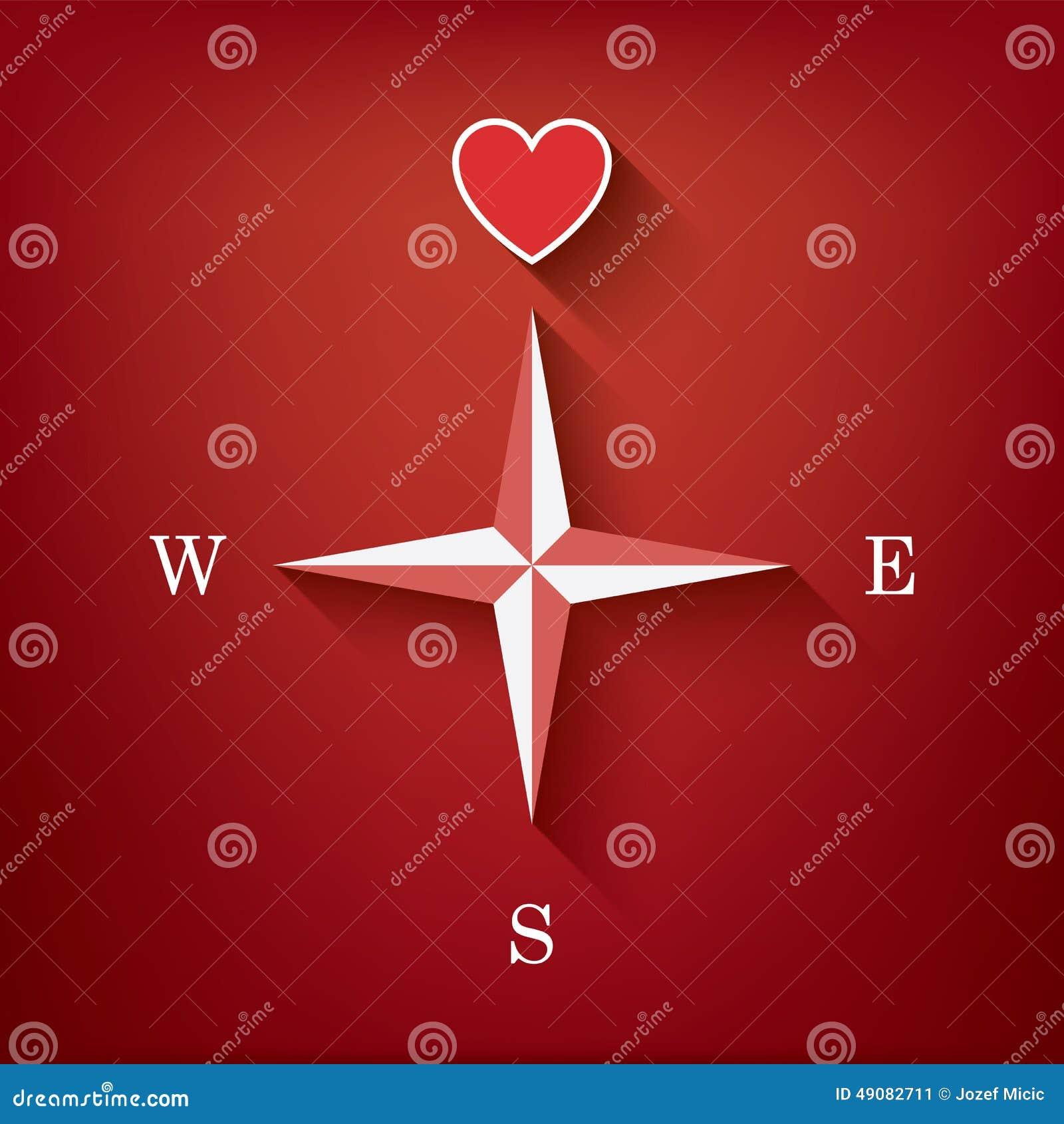 Boussole d 39 amour avec le coeur comme symbole de l 39 amour dans un illustration de vecteur - Un gros coeur d amour ...