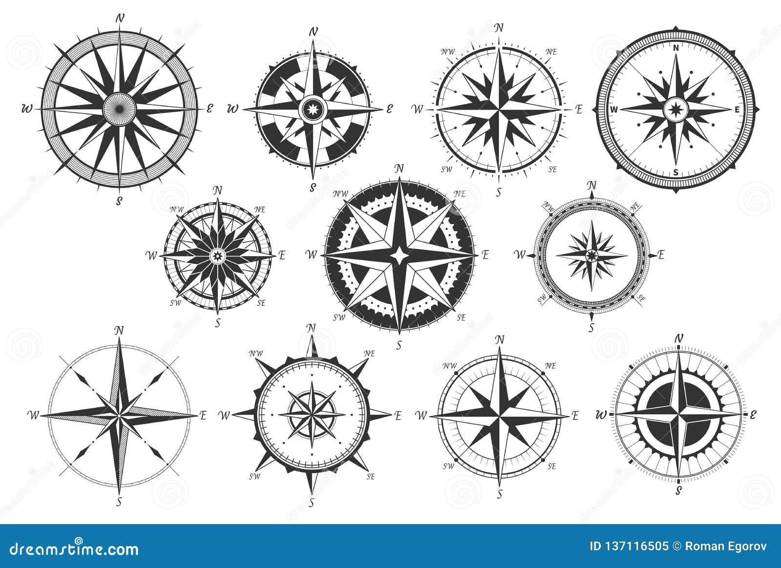 Boussole de vintage Le cru nautique de directions de carte s est levé vent Rétro mesure marine de vent Windrose fait le tour des